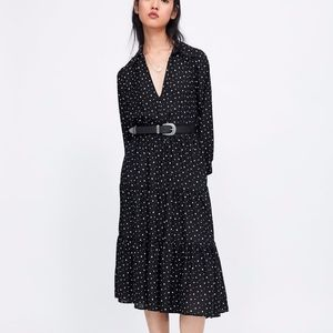 NEW ZARA BLACK POLKA TIERED LONG SLEEVE MIDI DRESS